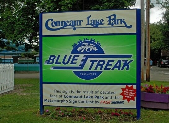 conneaut lake park blue streak sign
