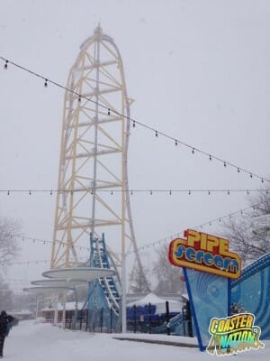 cedar point dragster snow