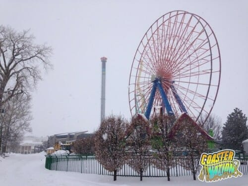 cedar point ferris wheel snow