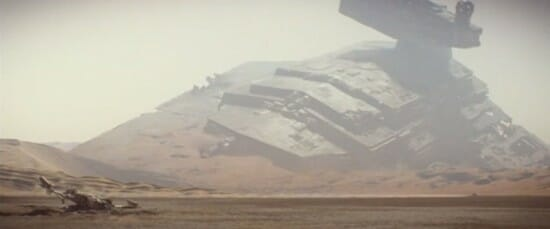 Star Destroyer and Xwing Crash Site