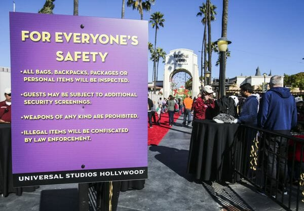 universal hollywood security sign
