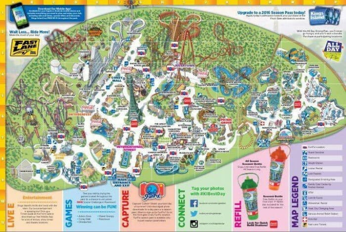 kings island 2016 map