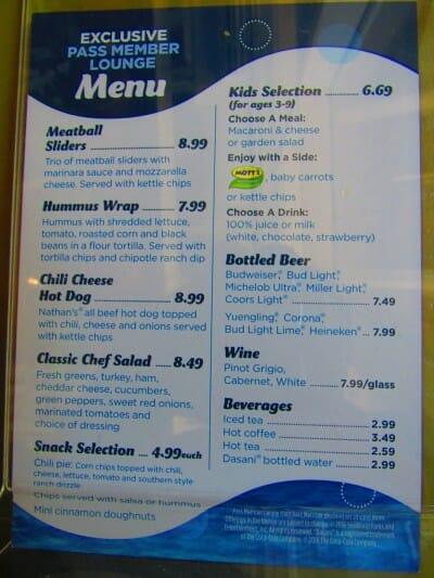 seaworld pass member food