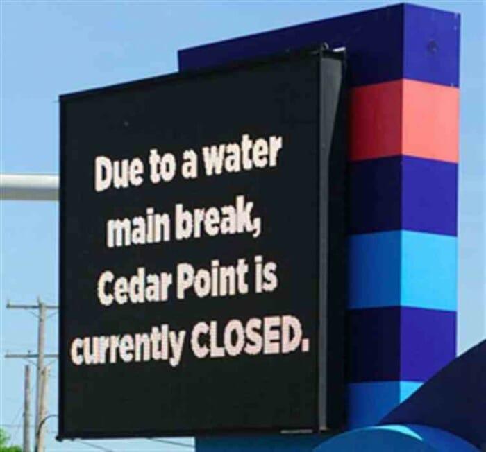 cedar point water main closed
