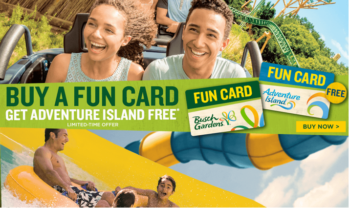 For A Limited Time, Guests Can Receive An Adventure Island Fun Card FREE  With The Purchase Of A Busch Gardens Fun Card, Which Lets Guests Pay For A  ...