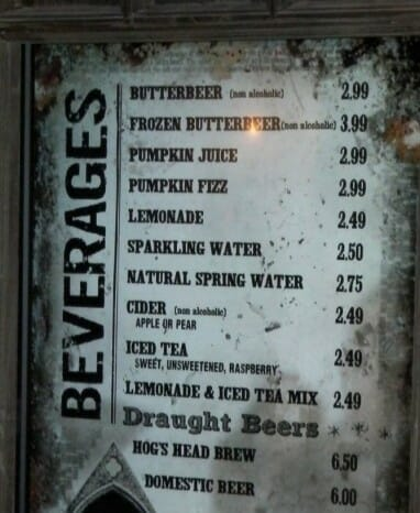 Butterbeer prices 2010