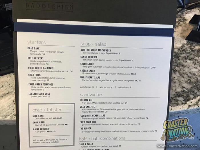 paddlefish disney springs menu 1