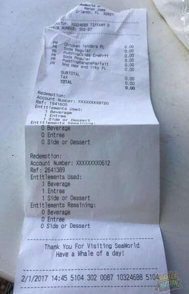 seaworld dining plan receipt