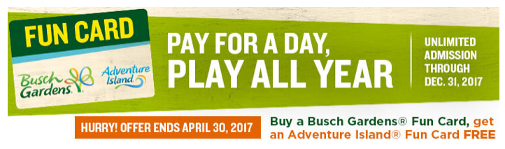 Last Chance to Purchase BOGO Fun Card at Busch Gardens Tampa ...