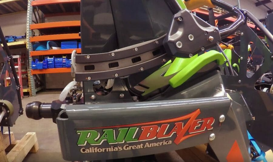 VIDEO: RailBlazer Roller Coaster Train Up Close At California's Great America