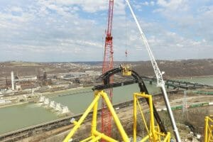 Tallest Pieces of Track Installed On Kennywood's Steel Curtain Roller Coaster